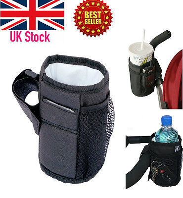 Pram Straw Drink Thermal Cup Holder with Soft Keys & Phone Pocket Pushchair