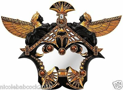 Set Of 2 Ancient Egyptian Revival Mirror Sculptural Sphinx Scarabs Jeweled Decor