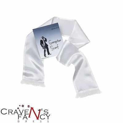 White Gangster Scarf 1920s 20s Gatsby Mobster Mafia Capone Fancy Dress Stag Do