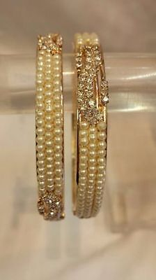 New Pearl Indian Traditional Ethnic Chunky Kangan Kada Bollywood Jewellery 2 Pcs