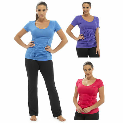 Womens Yoga Exercise Top T- Shirt Ladies Gym Fitness Sportswear