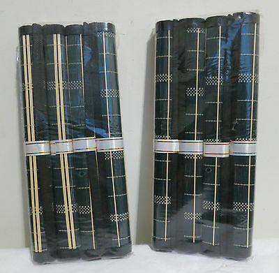 Set of 8 Black & Cream Stripe Bamboo Placemats - 30cm x 45cm (Easy to clean!)