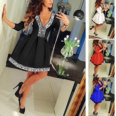 New Women Summer Casual Long Sleeve Sexy Party Evening Cocktail Short Mini Dress