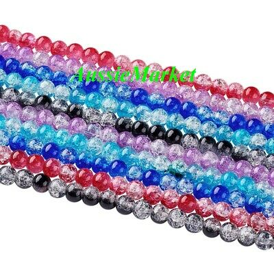 50 x Glass beads crackled crackle round mixed necklace bracelet suncatcher 8mm