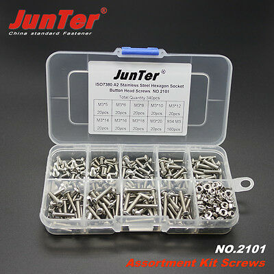 Qty340 M3 A2 Stainless Steel Assortment Kit Button Head Hex Socket Screw 2101
