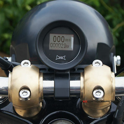 GPS Digital Speedometer & 22mm Bar Mounting Bracket Cafe Racer / Retro Motorbike