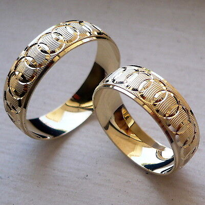 10K Solid Yellow Gold His And Her Wedding Band Ring Set Sz 5-13 Free Engraving