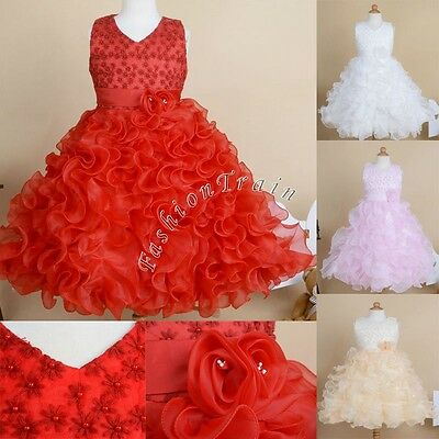 Ruffle Flower Girl Princess Dress Kid Party Pageant Wedding Bridesmaid Ball Gown
