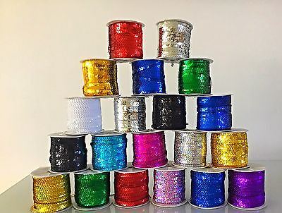 5M Laser Flat Sequin String 6mm Trim Lace Braid Ribbon Sew Craft Dance Costume