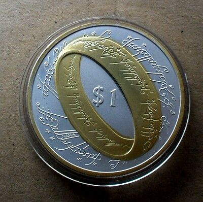 New Zealand $1 2003 999 Fine Silver/gold Plate Lord Of The Rings Coin