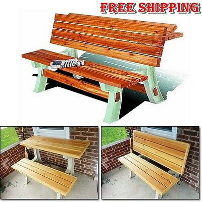 Picnic Flip Top Table Kit Bench Seat Outdoor Folding Patio Furniture Resin Frame
