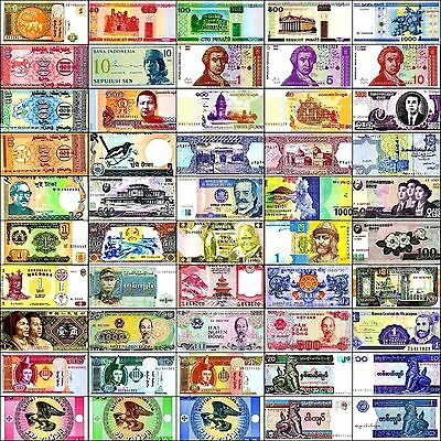50 Mixed World Banknotes Lot, Paper Money, New, Uncirculated, UNC