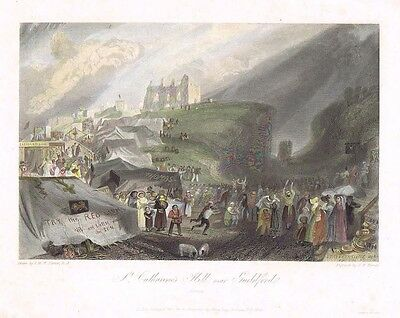 GUILDFORD St Catherine's Hill - Hand Coloured Antique Print 1832