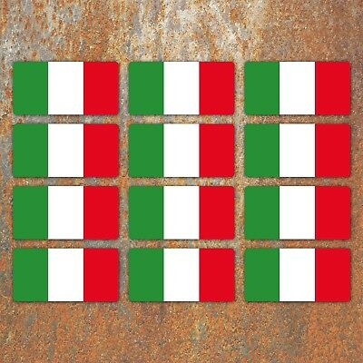 Italian Flag Laminated Stickers Small 12x 45x22mm Italy motorbike Decals
