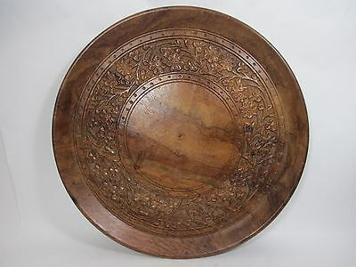 """11-3/4"""" Round Hand Carved Wooden Serving Tray Floral Archana Handicrafts India"""