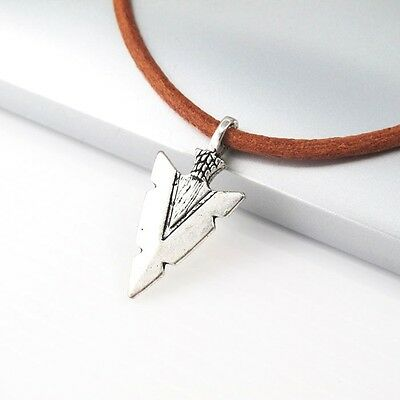 Silver Native African  Spear ArrowHead Brown Leather Surfer Necklace Pendant NEW
