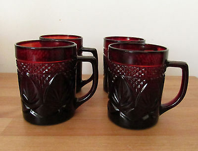 Set of 4 Ruby Red Luminarc Chris d'Arques Durand Glass Mugs Cups Tea Coffee