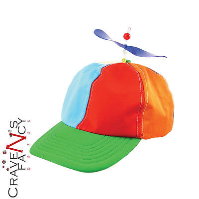 Helicopter Clown Hat Rainbow Circus Cap Mens Womens Fancy Dress Accessory New