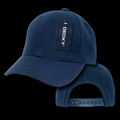 Youth- 6 Panel Kids Baseball Cap/Sports Hat- Navy Blue- Decky #7001