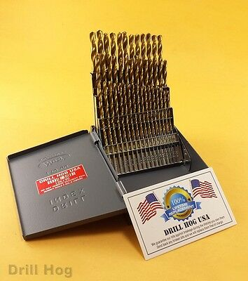 Drill Hog USA 60 Pc NUMBER Drill Bit Set Wire Gauge Titanium Lifetime Warranty