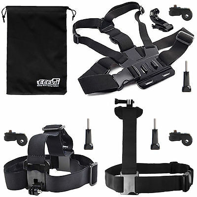 EEEKit Head Strap+Chest/Shoulder Mount Harness+Accessories for Sony Action Cam