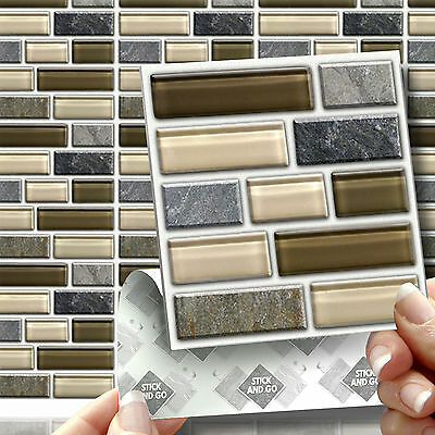 18 Peel, Stick & Go Stone Glass Tablet Wall Tiles Stickers Kitchen & Bathroom