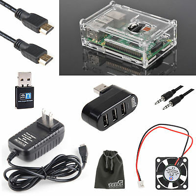 EEEKit for Raspberry Pi 3 Model B+ Box Case, Wall Charger Cooling Fan HDMI Cable