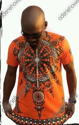 Odeneho Wear Men's Orange Dashiki/Angelina & Polished Cotton Top.African Clothin