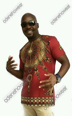 Odeneho Wear Men's Wine Dashiki/Angelina & Polished Cotton Top.African Clothin