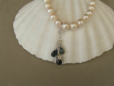 White Cultured Pearl Stretch Bracelet/Genuine Sapphire Charm Sterling Silver