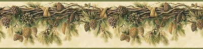Pine Cone Swag Rustic Lodge Easy Walls Wallpaper Border RJ01391 / TLL01391B