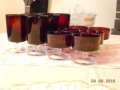 Vintage Ruby Red Glassware With Matching Sherbert Dessert Cups