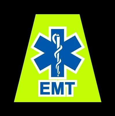 Reflective Fluorescent Yellow EMS Star of Life Fire Helmet Tetrahedron tet EMT