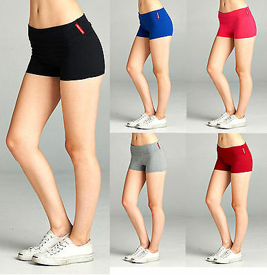 Fold Over Yoga Mini Stretch Shorts Women Workout Fitness Walking Exercise Gym
