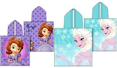 Girls Disney Frozen Elsa & Sofia The First Character Hooded Towel Poncho New