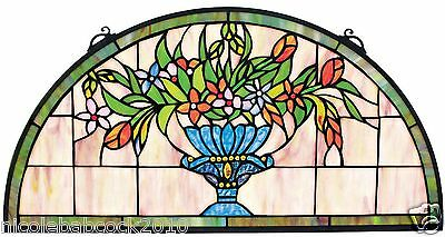 "24"" Half Moon Demi Lune Hand Crafted Rainbow Vase flowers Stained Glass Window"