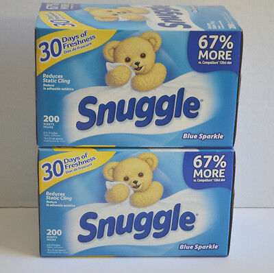 Lot of 2 Boxes Snuggle Fabric Softener 200 Dryer Sheets Each Box Blue Sparkle