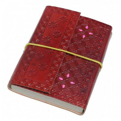 Pocket Leather Notebook - Brown with Pink Petal Journal