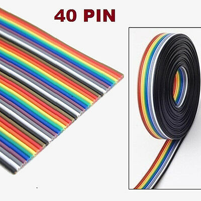 New 1.17mm 40 pin Dupont cord Wire Flat Color Rainbow Ribbon Cable Wire 1M