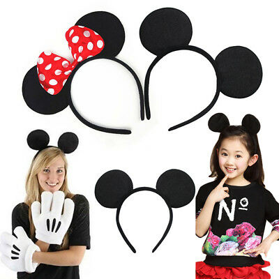 Minnie Mickey Mouse Ears Headband Dot Bow Party Favors Costume Halloween Party
