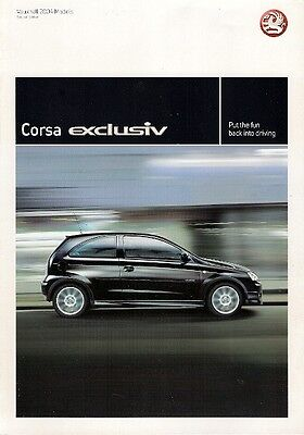 Vauxhall Corsa Exclusiv Limited Edition 2004 UK Market Sales Brochure