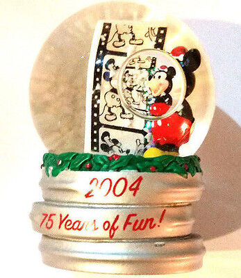 Rare 2004 Jc Penney's Christmas Exclusive Disney 75 Year Mickey Mouse Snowglobe