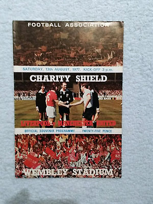 1977 - CHARITY SHIELD PROGRAMME - LIVERPOOL v MANCHESTER UTD - V G Condition