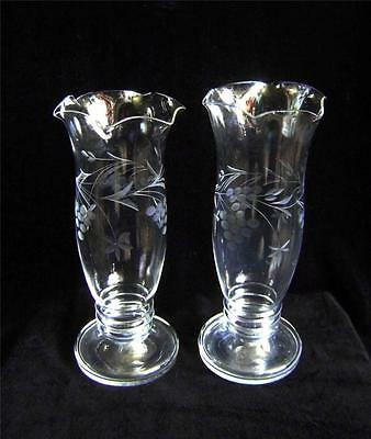 Vintage Pair Cut Glass Vases with Grape & Vine Engraving & Frilly Rims C.1930