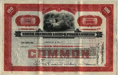 North American Light & Power Company Stock Certificate Electric Utility