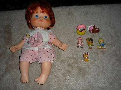 "7pc Lot of Vintage Strawberry Shortcake 1982 14"" Doll with Hat -6 Minis!"
