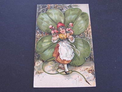 Child Four Leaf Clover Greeting Embossed Relief Postcard