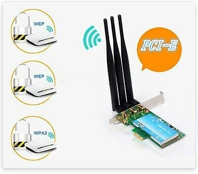 450Mbps PCI -E WiFi wireless Card Adapter for Desktop Laptop PC +6dbi Antennas