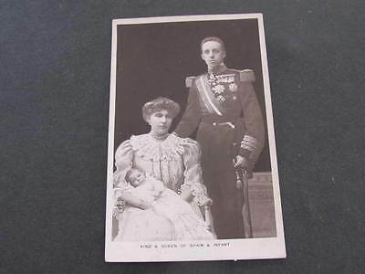 King & Queen of Spain & Infant Royalty Postcard postally used 1907