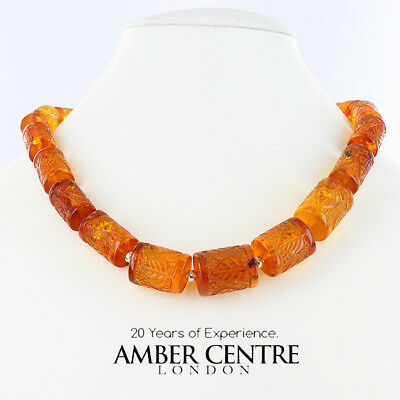 German Unique Elegant Handmade Hand Carved Baltic Amber Beads - A0035 RRP£795!!!